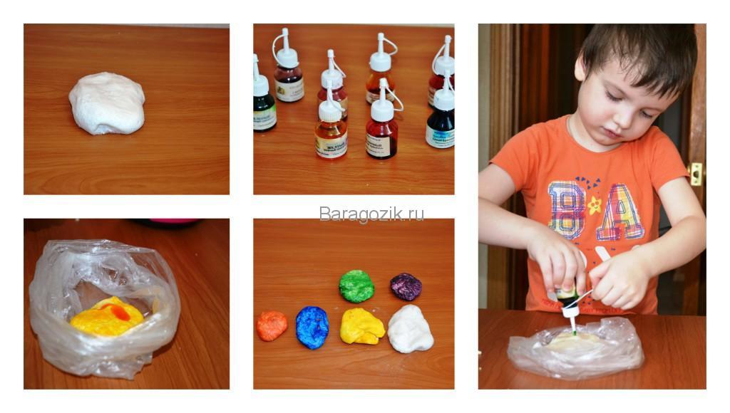 приготовление цветного соленого теста для поделок