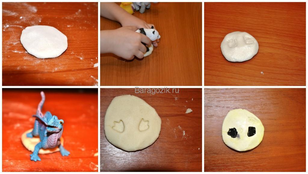 отпечатки игрушек-животных на соленом тесте