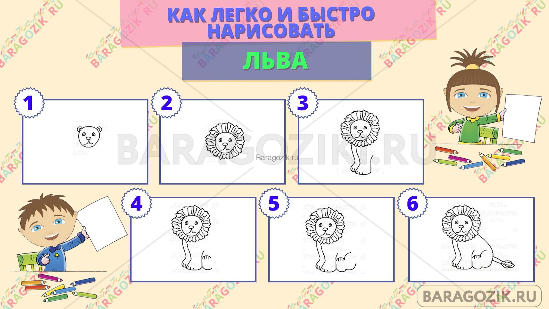 как легко нарисовать льва - пошаговая схема