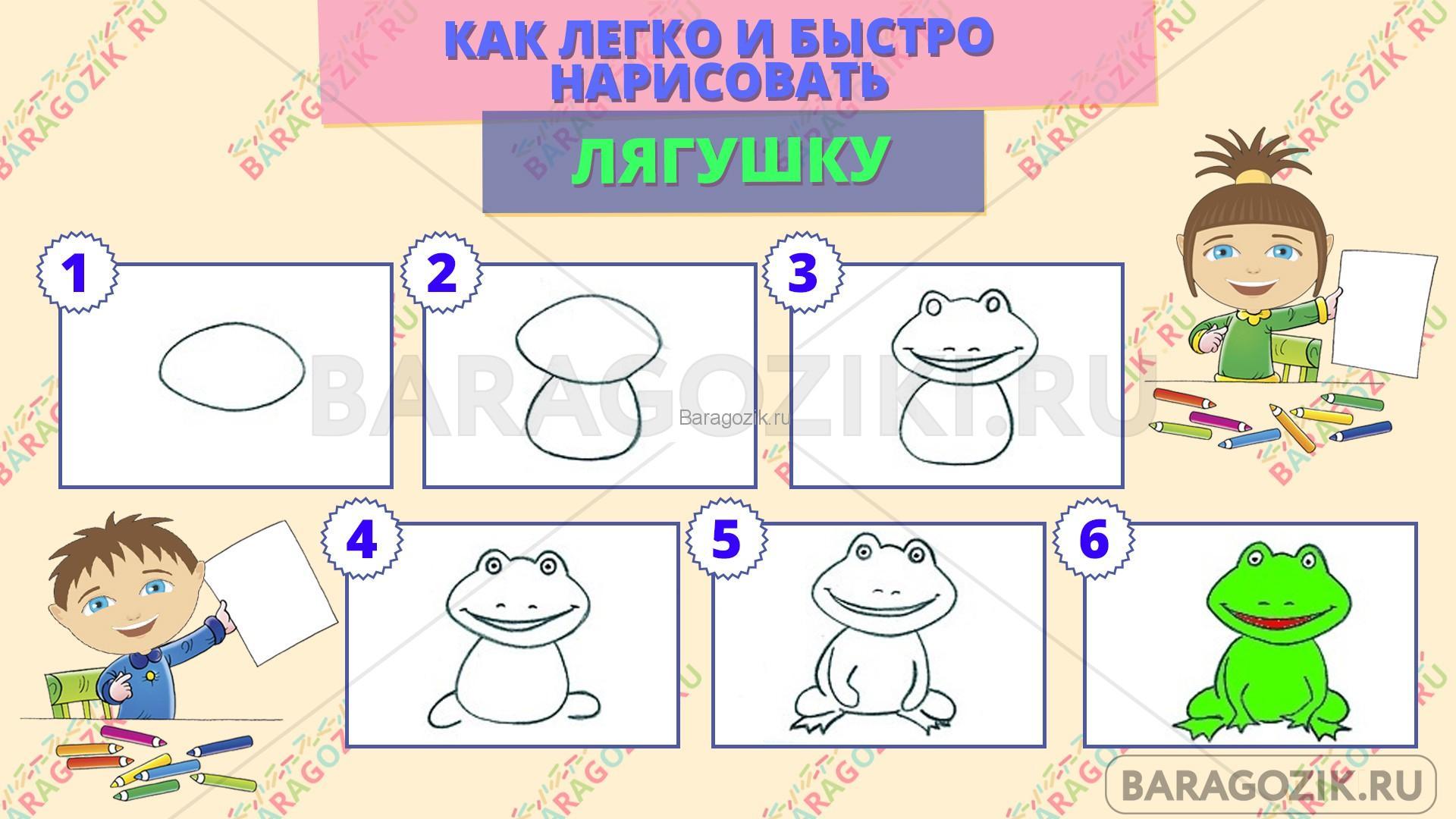 как легко нарисовать лягушку - пошаговая схема