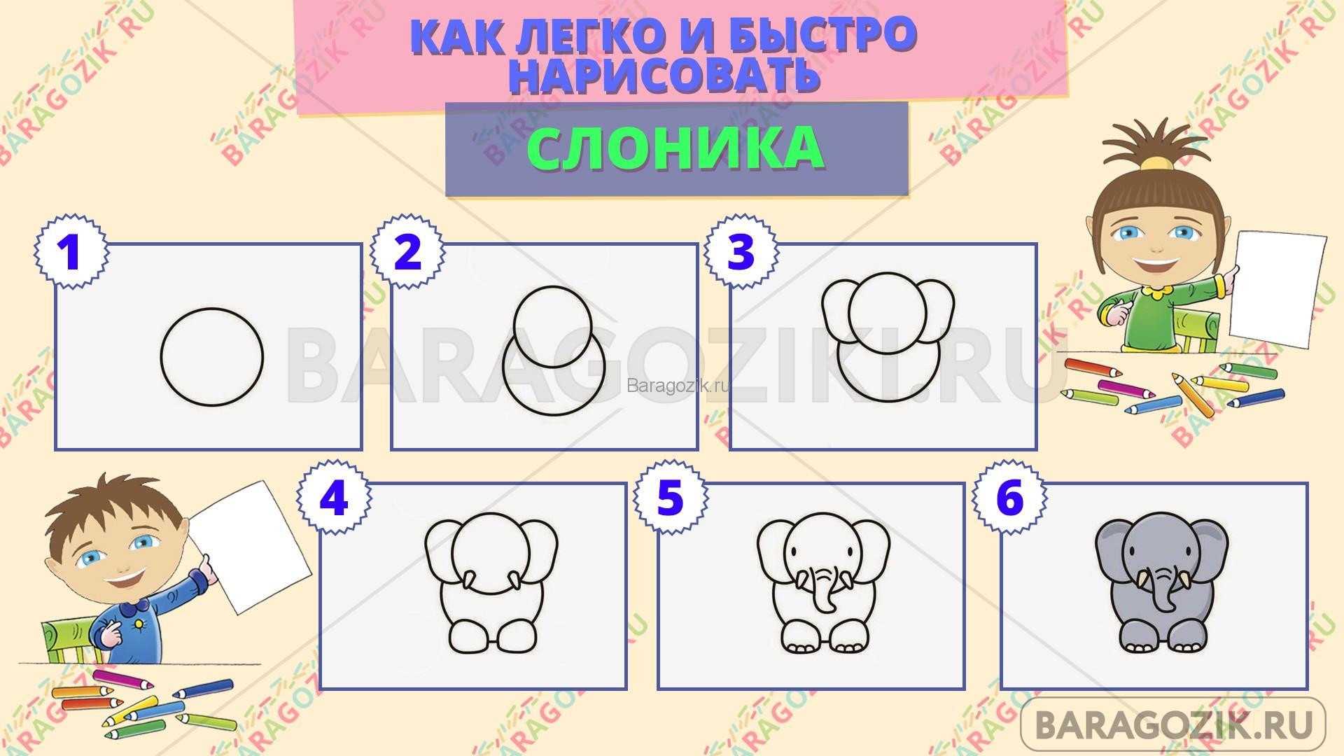 как легко нарисовать слоника - пошаговая схема