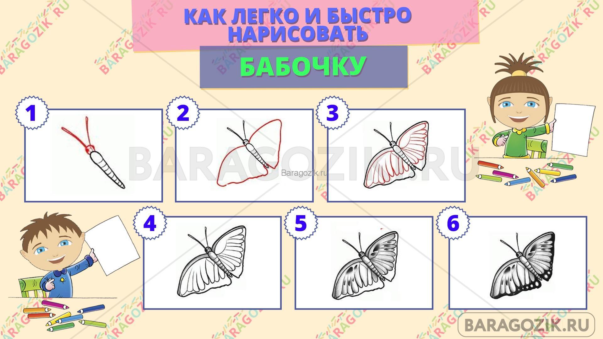 как легко нарисовать бабочку - пошаговая схема