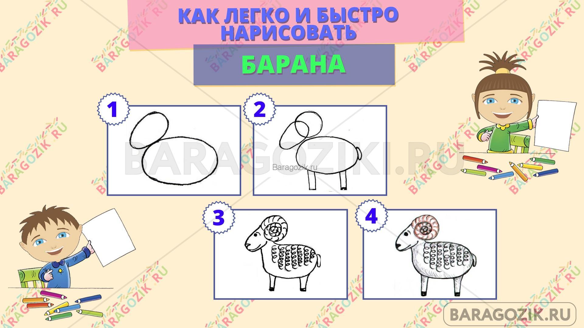 как легко нарисовать барана - пошаговая схема