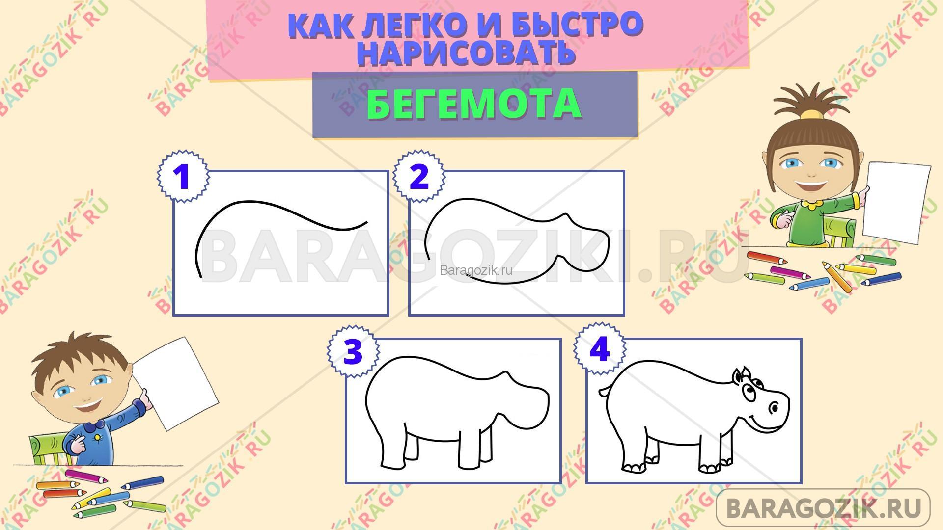 как легко нарисовать бегемота - пошаговая схема