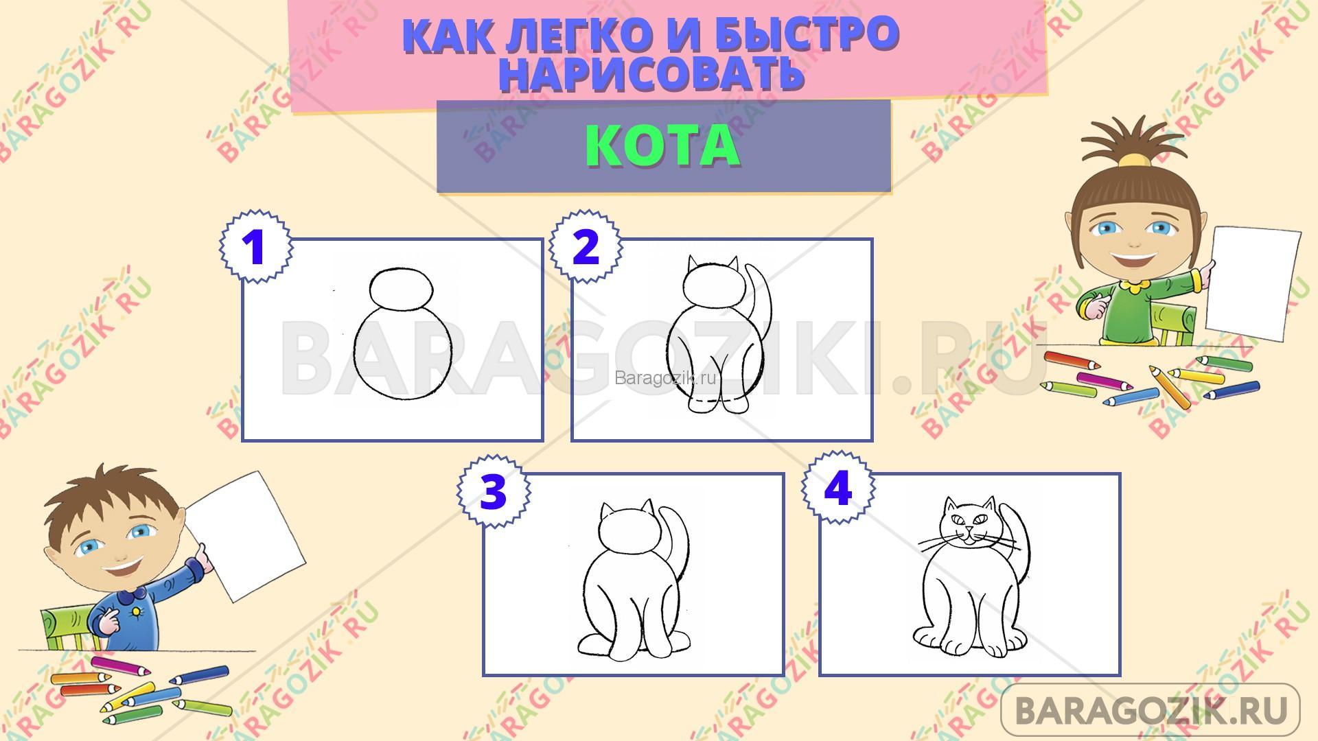 как легко нарисовать кота - пошаговая схема