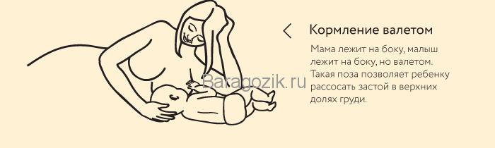 Поза валетом для кормления грудью новорожденного