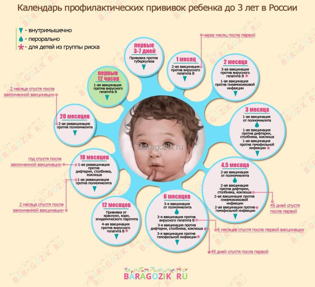 Таблица прививок для детей с рождения до 3 лет в России – сроки и название вакцины