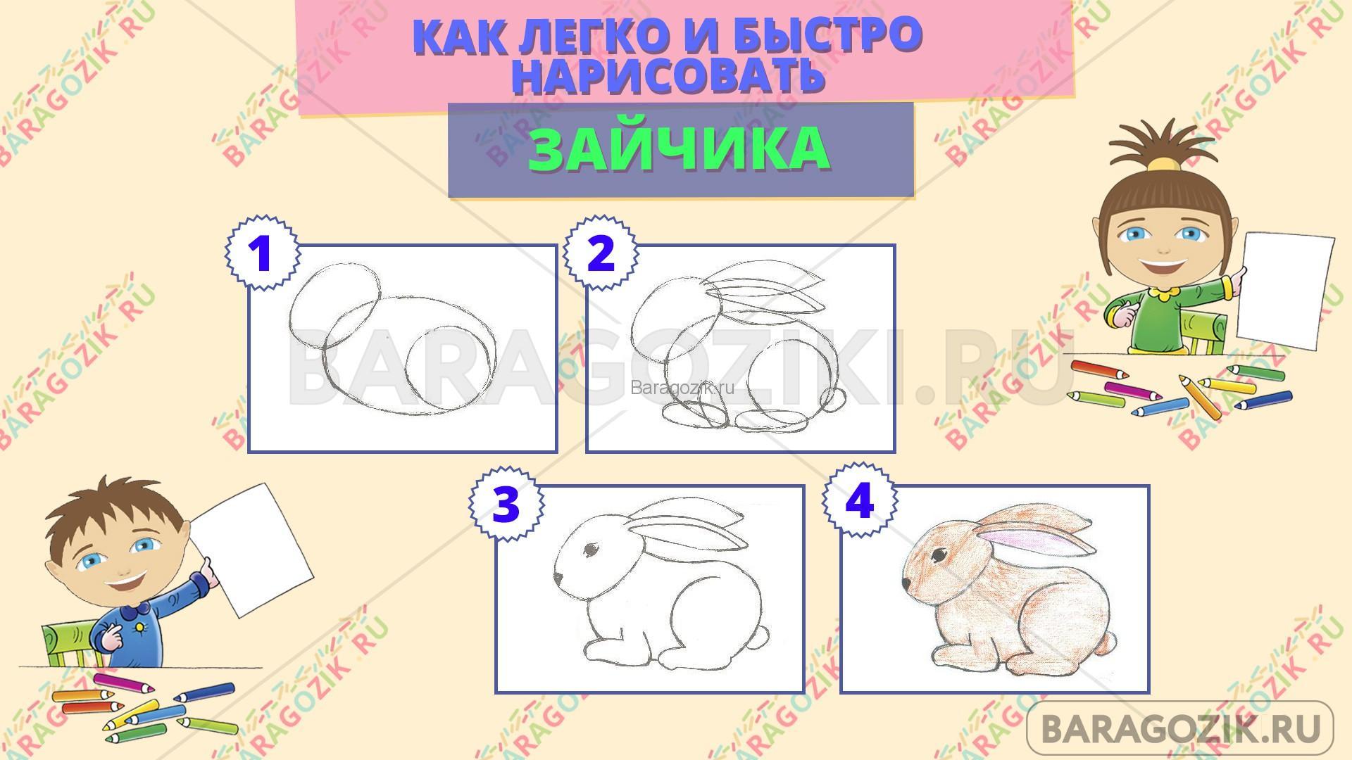 как легко нарисовать зайчика - пошаговая схема
