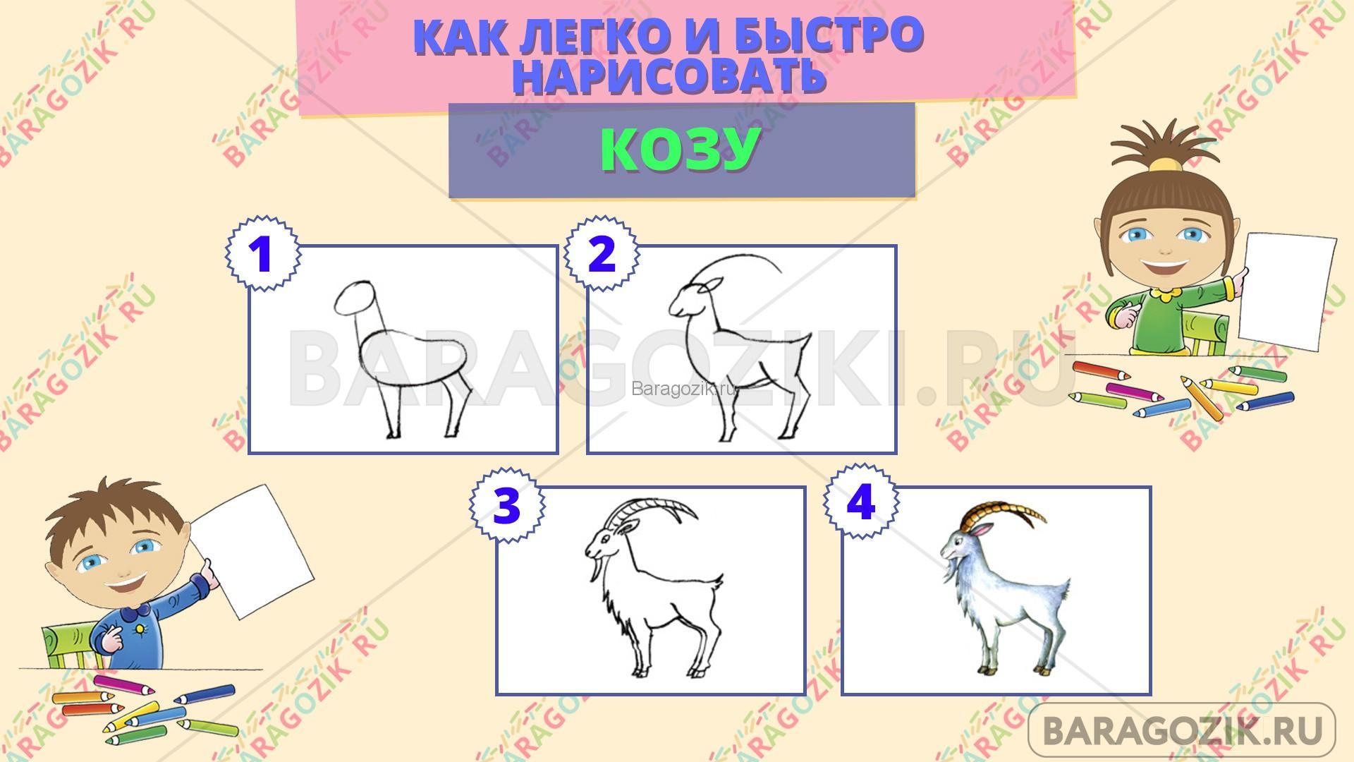 как легко нарисовать козу - пошаговая схема