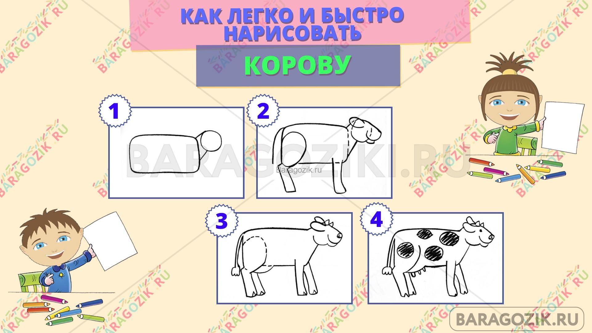 как легко нарисовать корову - пошаговая схема