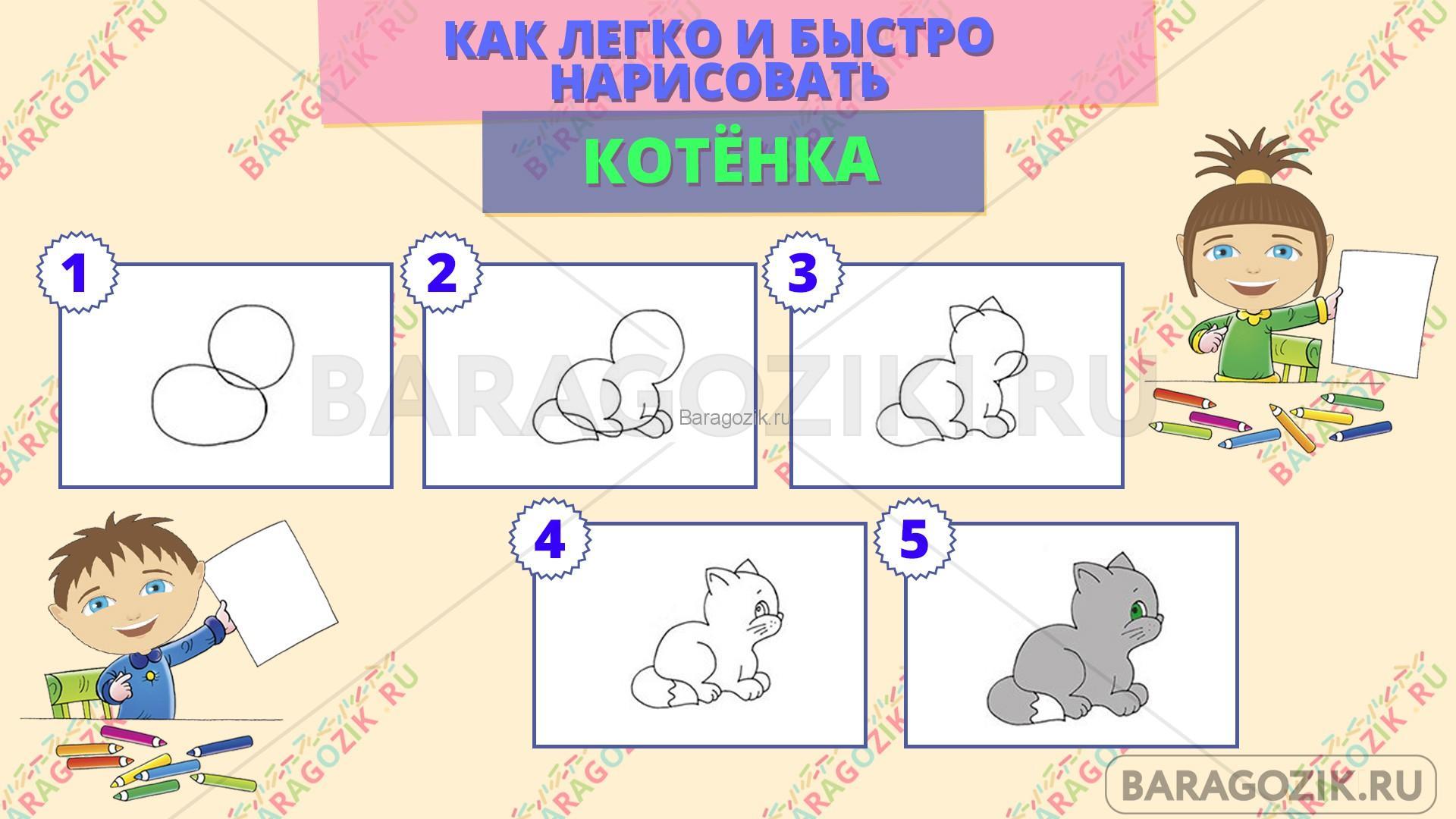 как легко нарисовать котенка - пошаговая схема