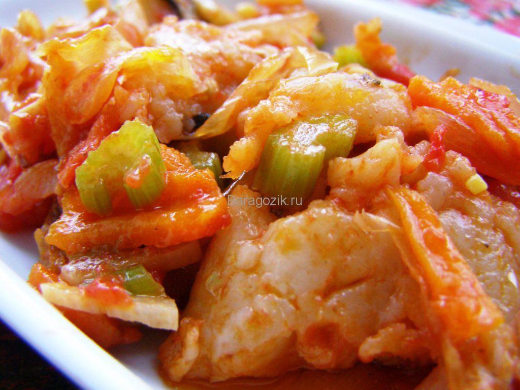 Рыба с тушеными овощами