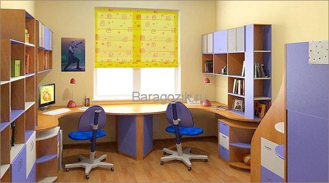Угловой двойной школьный стол1